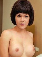 Little Thai tranny loves stroking her pole