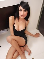 Model thin ladyboy plays in the shower